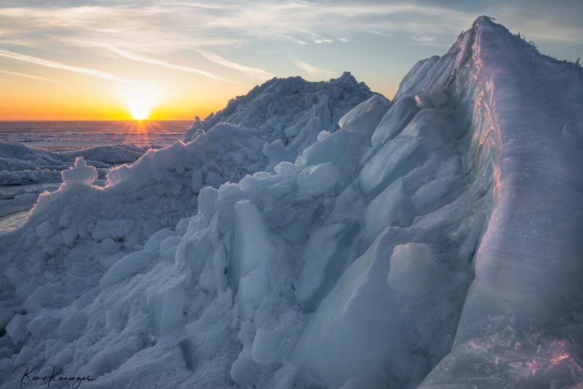 Sunrise over the ice piles