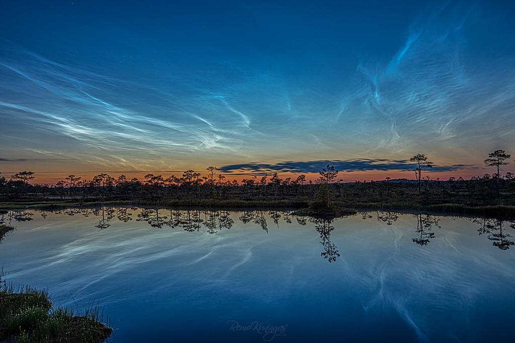 Electric blue summer night sky