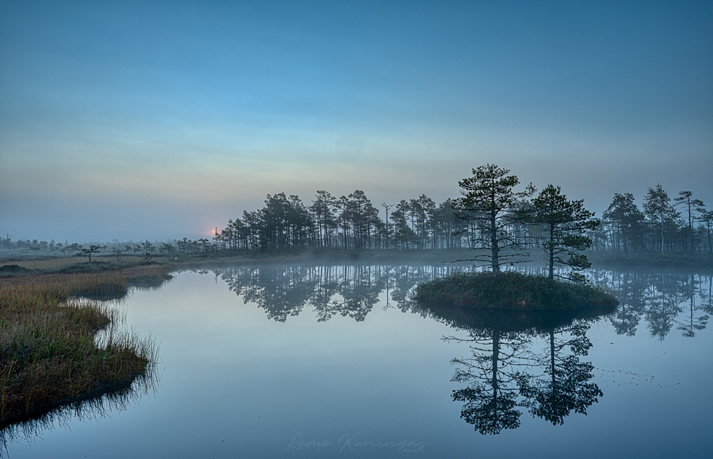 The morning of steaming bog pond