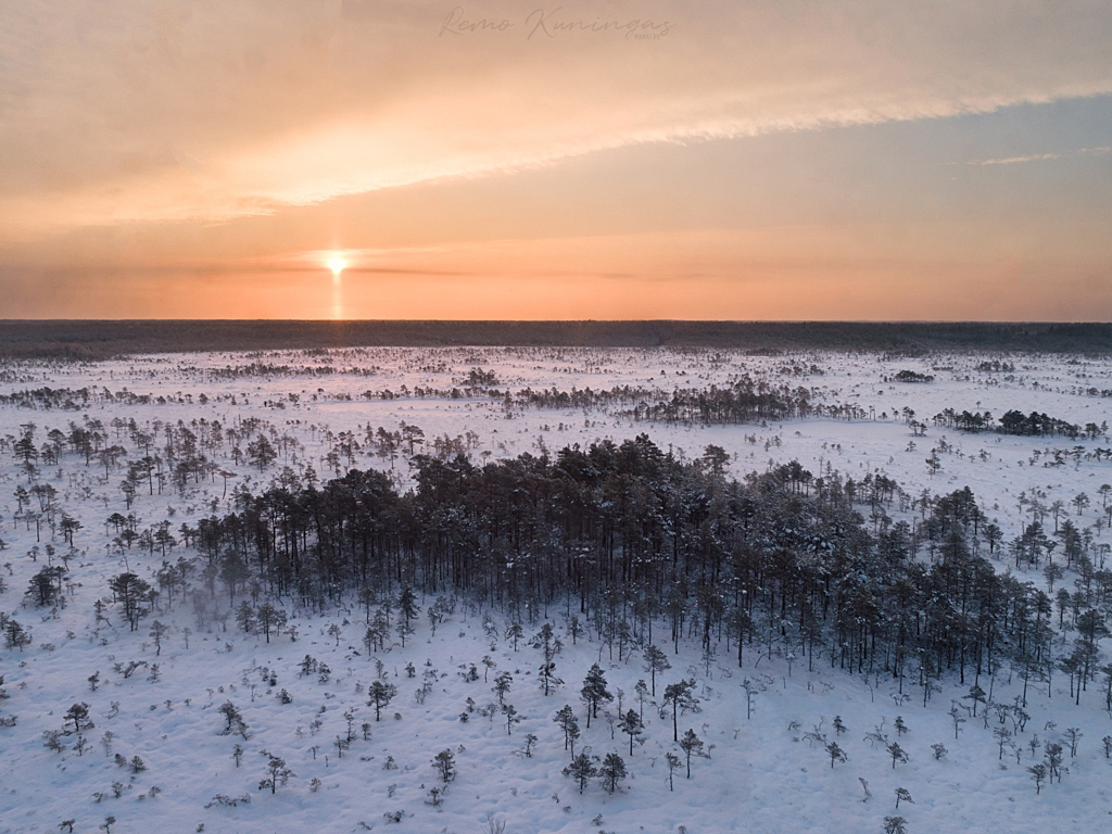 Talvine lume alla mattunud rabamaastik, kus selgelt on eristumas tihedamalt puudega asustatud rabasaared (Soomaa rahvuspark)